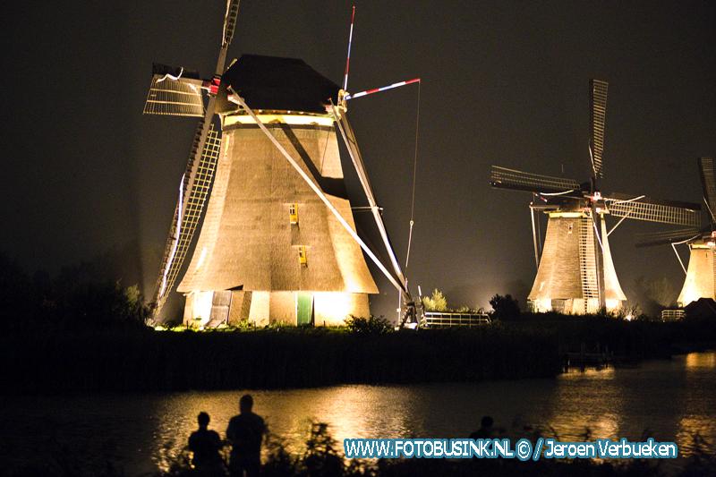 Verlichtingsweek molencomplex Werelderfgoed Kinderdijk.