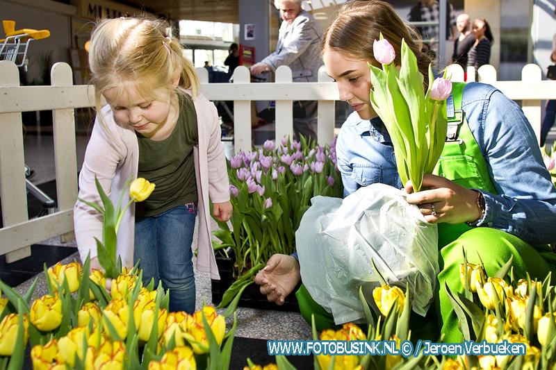 Tulpen plukken in winkelcentrum Walburg