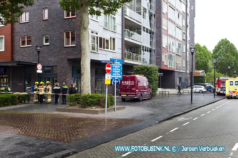 Steekvlam bij werkzaamheden bij de Aldi aan het Admiraalsplein in Dordrecht.