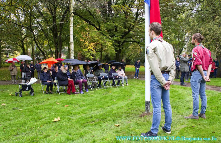 Dodenherdenking geallieerd luchtbombardement in het Merwesteinpark in Dordrecht.