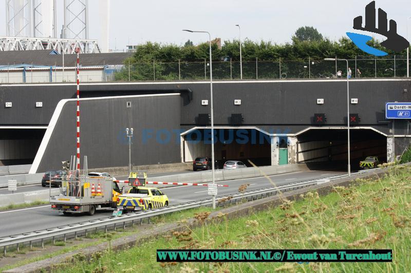 Ongeval op de A16 in de Drechttunnel