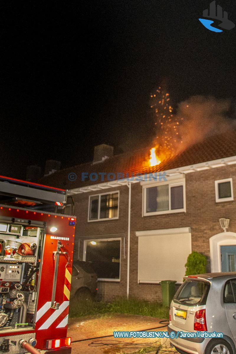 Zolderbrand aan de Adama van Scheltemastraat in Sliedrecht